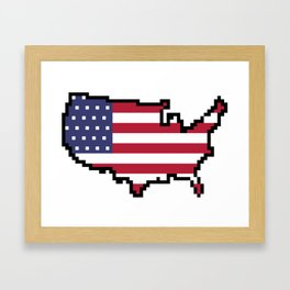 8-Bit United States of America Map and Flag Framed Art Print