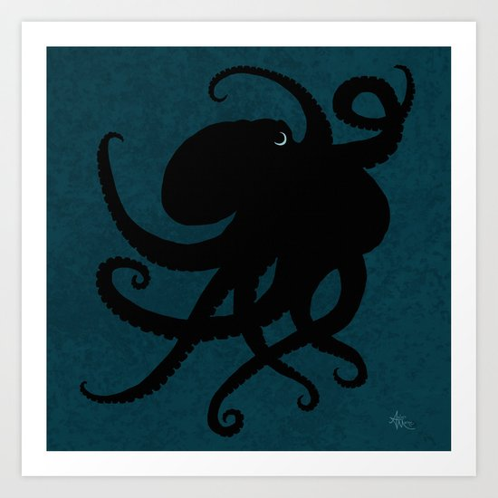 """Octopus Silhouette"" digital illustration by Amber Marine, (Copyright 2015) Art Print"