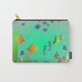 Colored Fish and Seahorse Carry-All Pouch