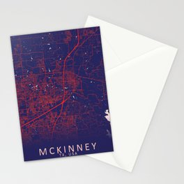 McKinney, TX, USA, Blue, White, City, Map Stationery Cards