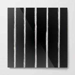 Skinny Strokes Gapped Vertical Off White on Black Metal Print
