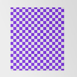 White and Indigo Violet Checkerboard Throw Blanket