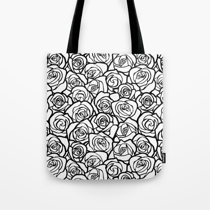 59db744e43f69 Vintage black and white roses Tote Bag by silvianna