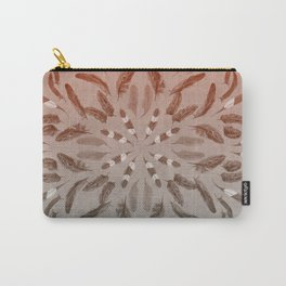 Apricot Gray Feather Mandala Carry-All Pouch