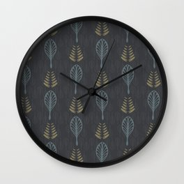 Floral Nature Leaves Line Art Wall Clock