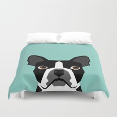 Logan - Boston Terrier pet design with bold and modern colors for pet lovers Duvet Cover