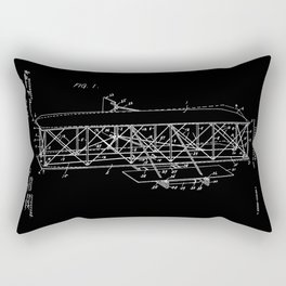 Wright Brothers Patent: Flying Machine - White on Black Rectangular Pillow