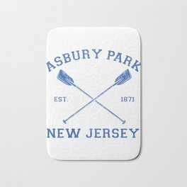 Vintage Asbury Park Vacation graphic Bath Mat