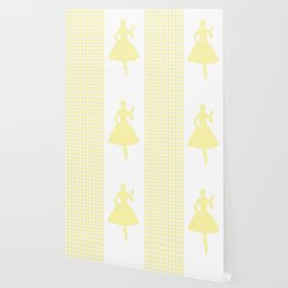 Cream Modern Houndstooth w/ Fashion Silhouette Wallpaper