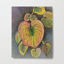 Hosta Leaves - Fall Metal Print