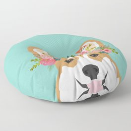 Corgi Portrait - dog with flower crown cute corgi dog art print Floor Pillow