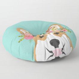 Corgi Portrait - dog with flower crown cute corgi dog art print Floor Pillow
