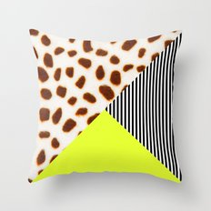 Cheetah Leo stripe and neon Throw Pillow