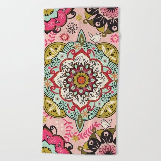Mandala color pattern Beach Towel