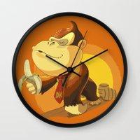 donkey kong Wall Clocks featuring Kong by Rod Perich