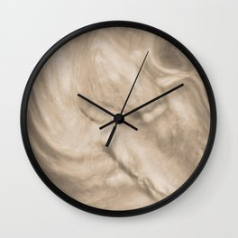 Pantone Hazelnut Flowing Pearlescent Haze, Opalescent Fluid Art Wall Clock