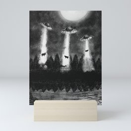 Flying saucers and cows Mini Art Print