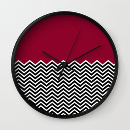 Flat Red and Classic Chevron Wall Clock