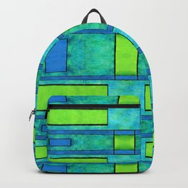 Painted blue and green parallel bars Backpack