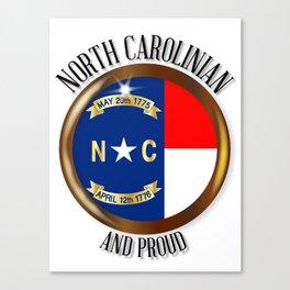 North Carolina Proud Flag Button Canvas Print