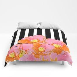 Poppy Stripes - Pink Comforters
