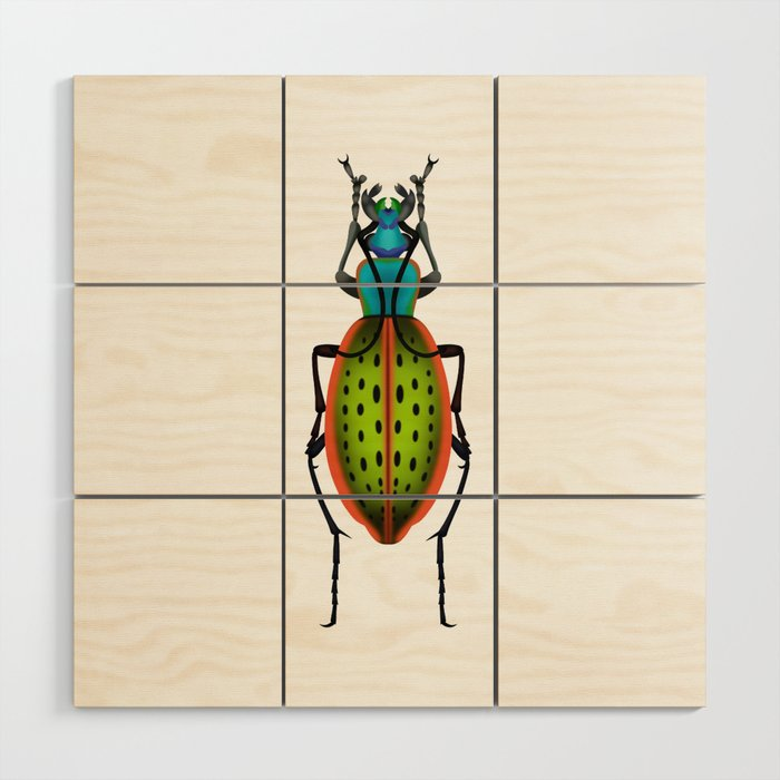 Green Dot Beetle Wood Wall Art