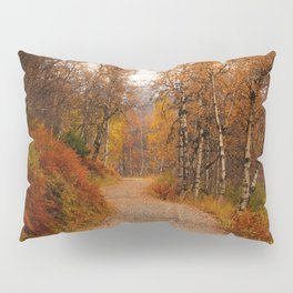 Winding country road in a fall forest Pillow Sham