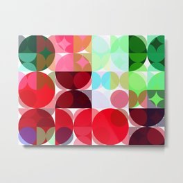 Mixed color Poinsettias 1 Abstract Circles 3 Metal Print