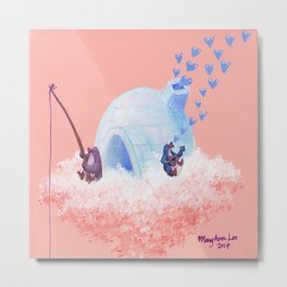 Penguins Fishing and Making Music on Their Floating Island Igloo Home Metal Print