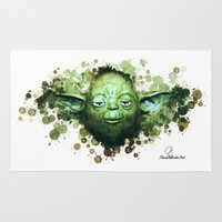 yoda Area & Throw Rugs featuring Yoda by Rene Alberto