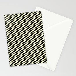 Cream Yellow and Black Diagonal RTL Var Size Stripes Stationery Cards