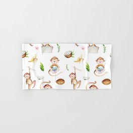 Tropical pink brown green watercolor monkey coconut floral Hand & Bath Towel