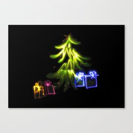Christmas Lights a tree and presents light painting photograph Canvas Print