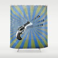 guns Shower Curtains featuring guns by mark ashkenazi