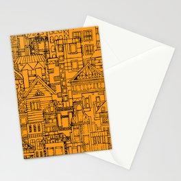 Houses - orange Stationery Cards