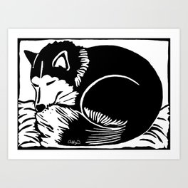 Black and White Sleeping Husky Art Print