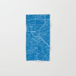 Paris Metro Map - Blue Hand & Bath Towel