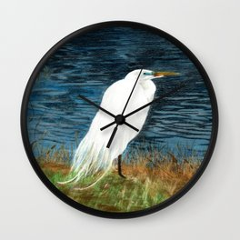 Snowy Egret Wall Clock