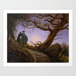 Two men Contemplating the Moon Art Print