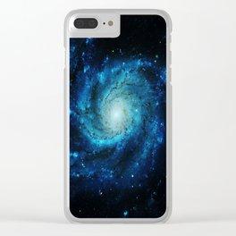 Spiral gAlaxy. Teal Ocean Blue Clear iPhone Case