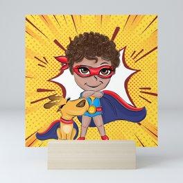 Super Boy Comic Pattern Mini Art Print