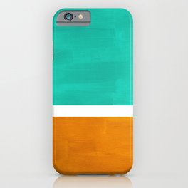 Marine Green Yellow Ochre Mid Century Modern Abstract Minimalist Rothko Color Field Squares iPhone Case