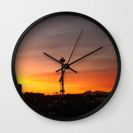 Space needle Sunset Wall Clock