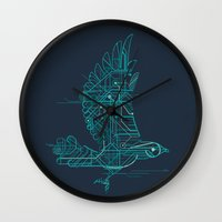 wind Wall Clocks featuring Wind-Up Bird by Jay Fleck
