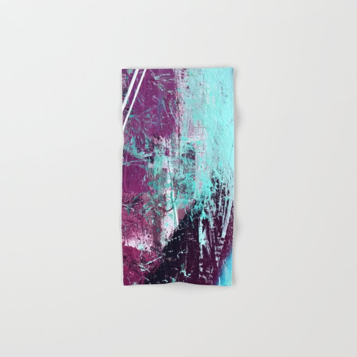 01012: a vibrant abstract piece in teal and ultraviolet Hand & Bath Towel