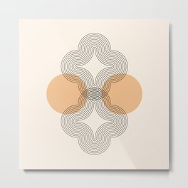 Geometric Lines in Black and Beige 4 (Flower Abstraction) Metal Print