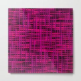 Square luminous pink lines on a dark tree. Metal Print