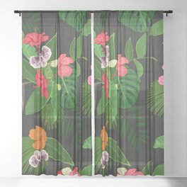 Red, orange, pink hibiscus and heaven bird flowers and tropical leaves pattern black background Sheer Curtain