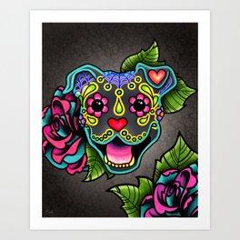 Smiling Pit Bull in Blue - Day of the Dead Pitbull Sugar Skull Art Print
