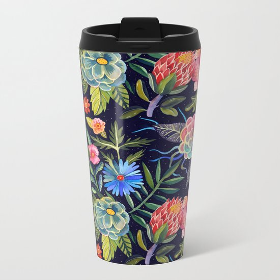 Cosmic Florals Metal Travel Mug